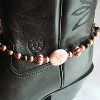 Copper & Black Agate Beaded Boot Bling Anklet Bracelet