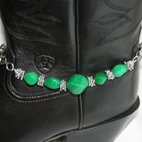 Green Twisted Jade and Tibetan Spacer Bead Boot Bling Anklet Bracelet