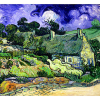 Thatched Cottages at Cordeville, Auvers-Sur-Oise, c.1890 Giclee Print by Vincent van Gogh at Art.com