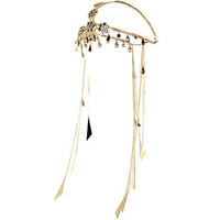 Gold tone encrusted hair crown - body chains / accessories - jewellery - women