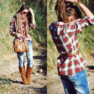 Weareselecters Shirt, Bershka Jeans, Zara Foulard, Bimba & Lola Bag //    Plaid shirt by Alexandra Per // LOOKBOOK.nu