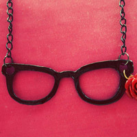 Nerd eyeglass necklace