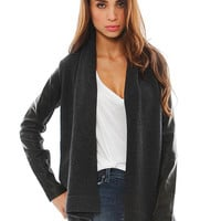 Vince Leather Sleeve Drape Jacket | SINGER22.com