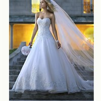 White Ball Sweetheart Boned Lace Organza 2014 Wedding Dress IWG0258 -Shop offer 2013 wedding dresses,prom dresses,party dresses for girls on sale. #Category#