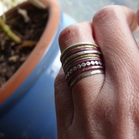 Mixed Metals Stacking Rings Set of 10 in Sterling Silver, Brass, and Firestained Copper