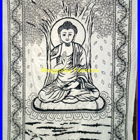 Meditation Buddha Hippie Hippy Indian Tapestry Wall Hanging Throw Cotton Bed cover Bohemian Bed Decor Bed Spread Ethnic Decorative Art