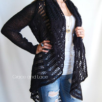 PRE ORDER Oversized Knit Cardi  Black knit by GraceandLaceCo