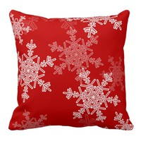 Girly red and white Christmas snowflakes Throw Pillows