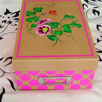 Pink Flowered Personalized Memory Photo Recipe  Box