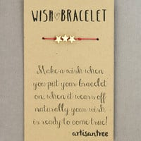 Three Wishes Bracelet : Star Bracelet, Gold Plated, Delicate, Tiny, ArtisanTree, Friendship, Gift, Make a Wish, Good Luck, Red Silk