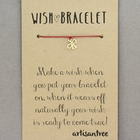 Bow Bracelet : Wish Bracelet, Gold Plated, Delicate, Tiny, ArtisanTree, Friendship, Gift, Make a Wish, Good Luck, Red Silk