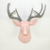 Faux Deer Head - The Briley - Cameo Pink W/ Silver Glitter Antlers Resin Deer Head- Stag Resin White Faux Taxidermy