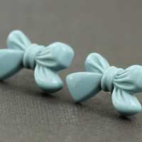 Bow Earrings : Pastel Teal Stud Earrings, Sterling Silver Plated Earring Posts, Simple, Oversized, Cute, Girly, Turquoise, ArtisanTree