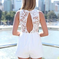 White Lace & Open Back Sleeveless Playsuit