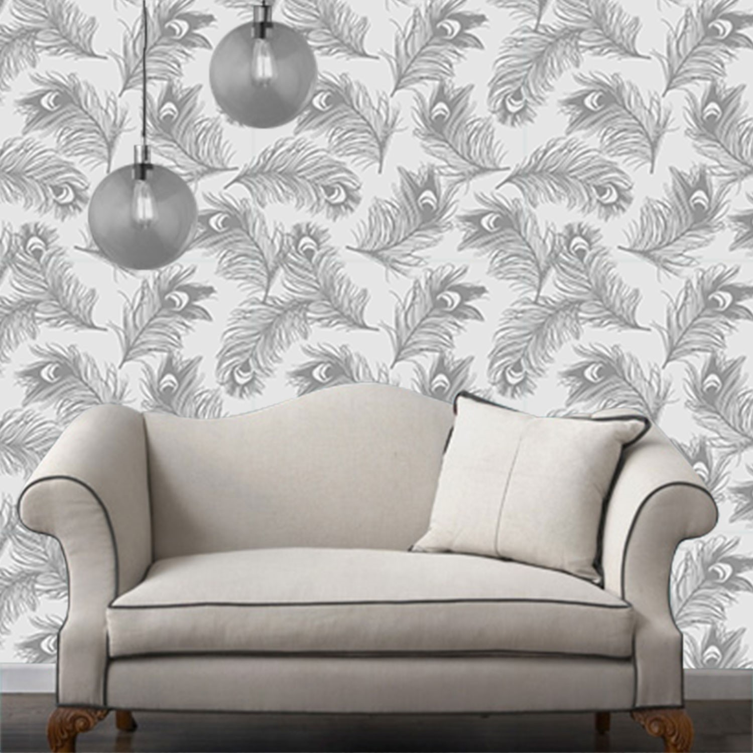 Temporary wallpaper feather metallic from dormify for Metallic removable wallpaper