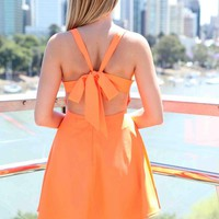 Orange Bow Back Criss Cross Front Skater Dress