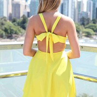 Yellow Bow Back Criss Cross Front Skater Dress