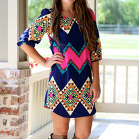 Pop of Pink Aztec Shift Dress -- | Hazel & Olive