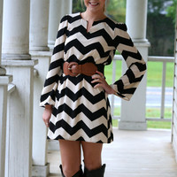 Chevron Belted Dress | Hazel & Olive