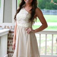 Champagne on Ice One Shoulder Dress | Hazel & Olive