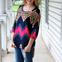 Tunic- Pop Of Pink Aztec | Hazel & Olive