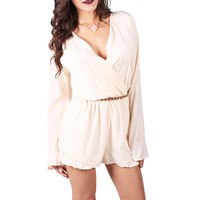 Touch of Ruffle Romper in Ivory - Haute Miss