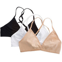 American Apparel - Cotton Spandex Jersey Cross-Back Bra (3-Pack)
