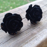 Black Resin Flower Earrings with Titanium Earring Posts by glamMKE