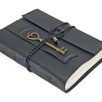 Black Leather Journal with Heart Key Bookmark