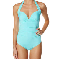 JETS JOURNEY 50S GATHERED HALTER ONE PIECE - WATERFALL