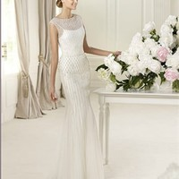 Column white Lace  beading 2013 Wedding Dress IWD0056 -Shop offer 2013 wedding dresses,prom dresses,party dresses for girls on sale. #Category#