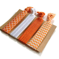 Orange Elastic Hair Ties Orange Chevron Quatrefoil Yoga Hair Bands