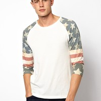 ASOS 3/4 Sleeve T-Shirt With Flag Print Sleeves