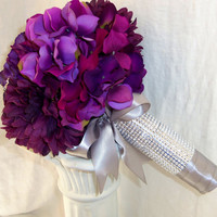 Great Gatsby Inspired- Purple Hydrangea Brooch Bridal Wedding Bouquet- 1920's Inspired Purple and Silver Wedding Bouquet