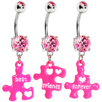 Pink Gem Triple Puzzle Piece Best Friends Forever Belly Ring Set | Body Candy Body Jewelry