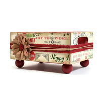 Handmade Christmas decoupage trinket box tray for home decoration 387