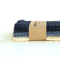 Crochet washcloths - crochet wash cloths - cotton washcloth - blue marine - natural