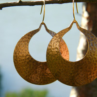 Hammered Brass Earrings - Patina - Metalwork - Drop Earrings