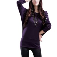 Allegra K Women Boat Neck Stud Decor Bat Sleeve Autumn Shirt Top Purple S