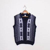 navy blue sweater vest, southwest sweater vest, southwestern sweater vest, tribal sweater vest, tribal print, oversize sweater vest, l xl
