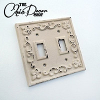 Light Switch Cover, Light Switch Plate, Fleur de lis, Country Cottage Shabby Chic Home Decor