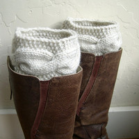 Cream Boot cuffs - Beige Leg Warmers - Cable knit boot toppers - Winter Fashion - Cozy legwarmers - Winter Acessory - Fall Fashion 2013