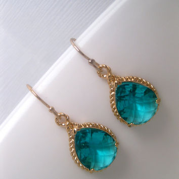 Turquoise Mystic Sea Gold Rope Earrings With 14k Gold