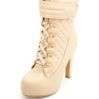 Quilted Lace-Up Hiker Heel Bootie: Charlotte Russe