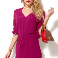 Drawstring Waist Shirt Dress in Magenta