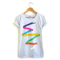 Ribbon Banner Hand Stenciled Slouchy Crew Neck Rolled Cuffs Tee in Heather Ashy Grey and Rainbow - S M L XL 2XL 3XL