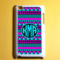 Aztec Pattern Monogram Ipod Touch 4 Case -  4th Gen Ipod Touch Cases, Cute Monogram ipod case