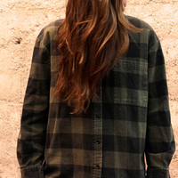 COLOR Block dark olive plaid flannel 90s TWIN PEAKS leo shirt
