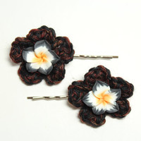 Black flower bobby pin/ Crochet hair accessory/ Gothic inspired hair pin.
