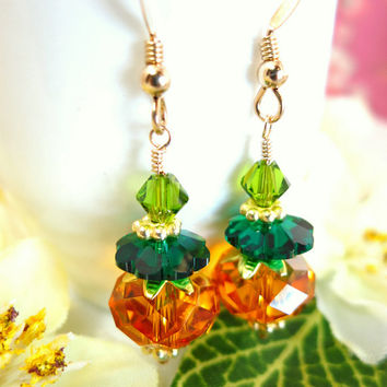 Swarovski crystal pumpkin drop earrings, orange pumpkin crystal earrings, Halloween pumpkin earrings, Cinderella pumpkin earrings